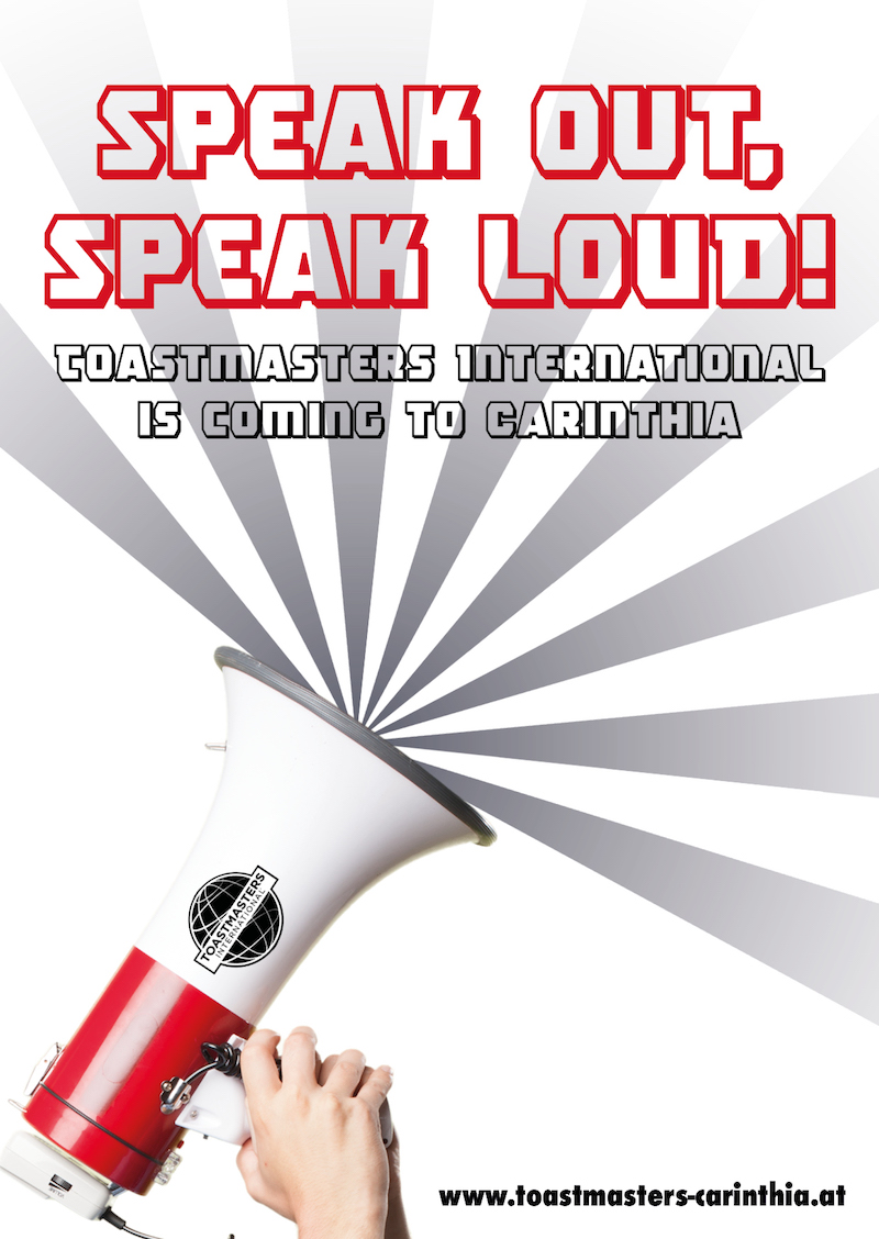 Advertising postcard for educational organization Toastmasters in the South of Austria.