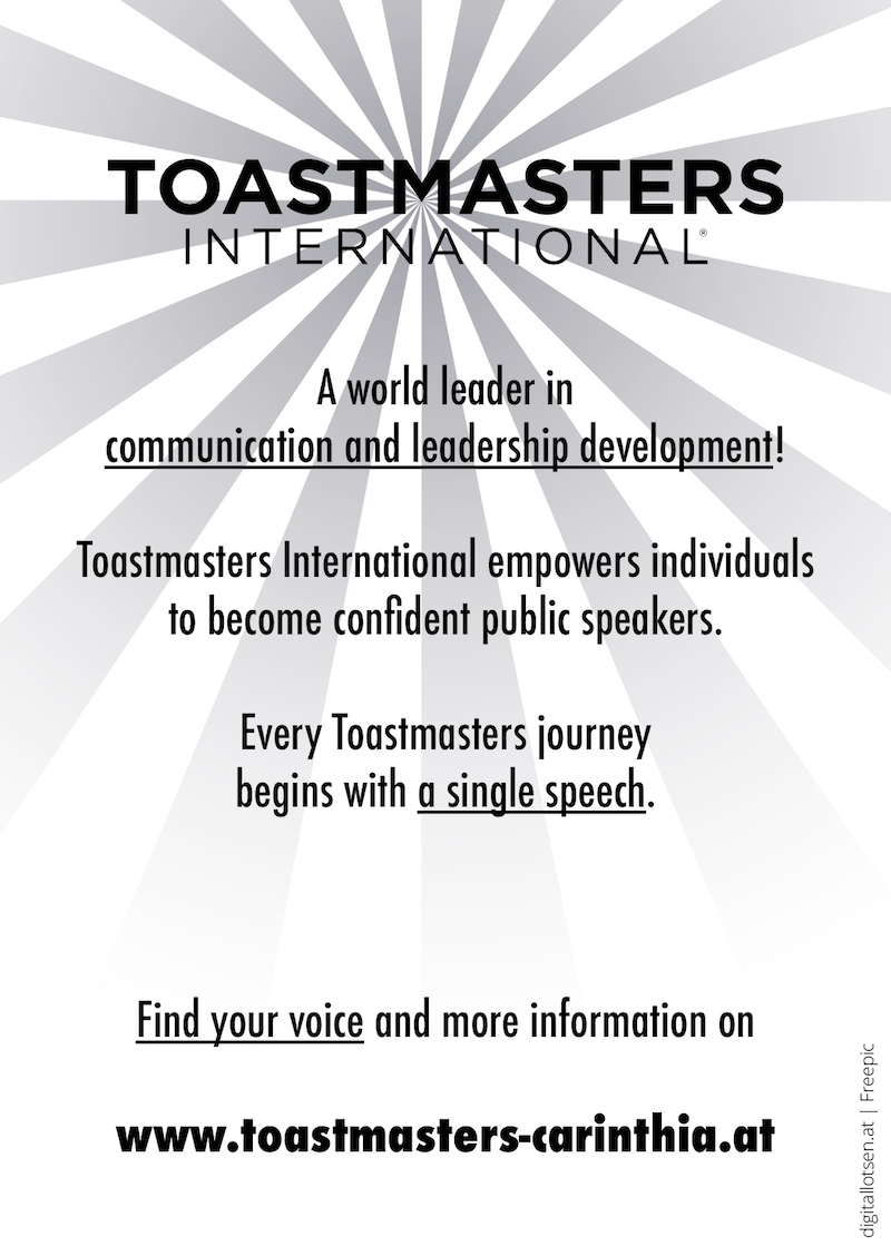 Postcard for Toastmasters Villach (Kärnten). Find your voice and more information.