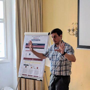 Thomas Gebhard introducing Toastmasters' Pathways