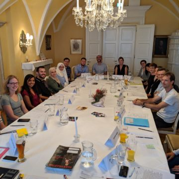 The participants of Toastmasters Villach's very first meeting.